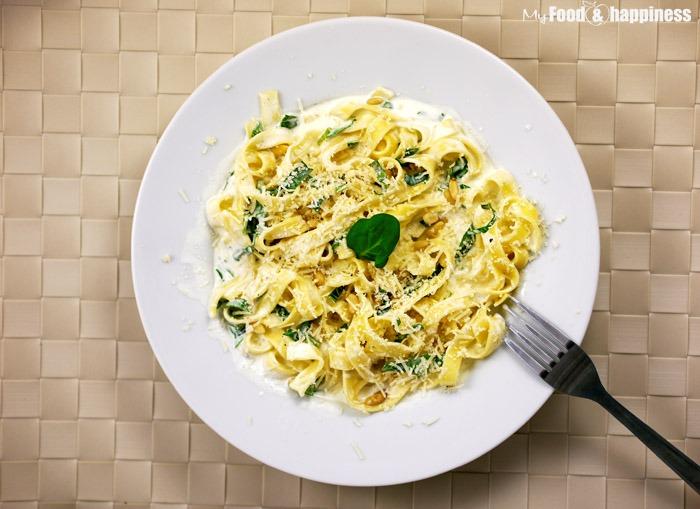Creamy tagliatelle with spinach small