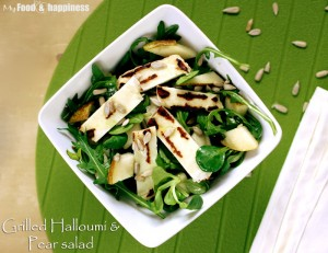 Grilled Halloumi & Pear salad
