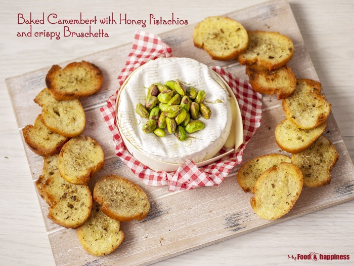 Baked Camembert with Honey Pistachio and crispy Bruschetta starter