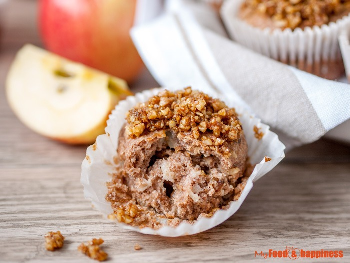 Delicious, healthy, no added sugar wholemeal muffins with apple sauce, cinnamon and walnuts.