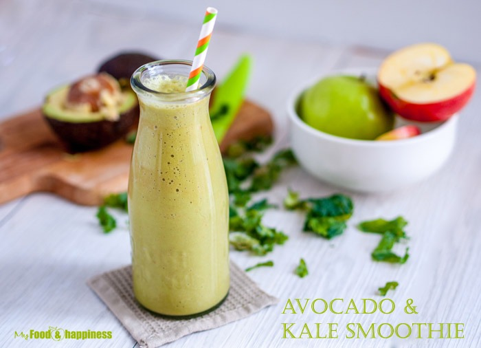 Apple, Avocado and kale smoothie - creamy and healthy delicious smoothie