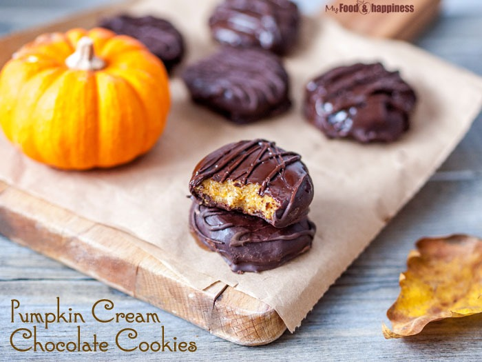 No bake, vegan and gluten-free Pumpkin Cream Chocolate cookies recipe