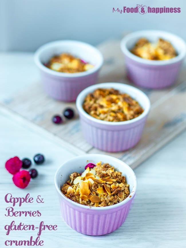 Delicious Apple & Berry vegan & gluten-free blueberry crumble