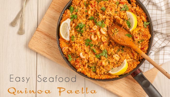 Easy Seafood Quinoa  Paella