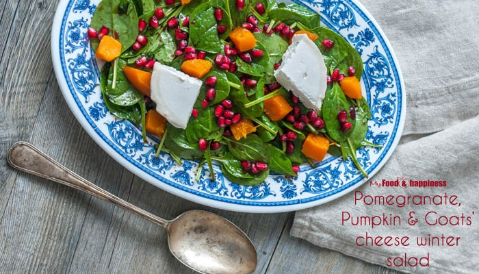 Pomegranate, Pumpkin & Goats' cheese winter salad