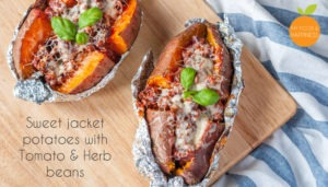 Sweet jacket potatoes with Tomato and Herb beans