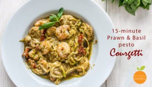 15-minute Prawn & Basil pesto Courgetti/ Zoodles