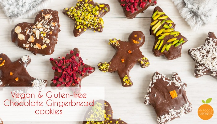 Xmas Chocolate Gingerbread cookies (Vegan, Gluten-free & naturally colourful)