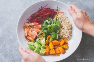 The perfect protein bowl with Teriyaki Salmon & Pumpkin
