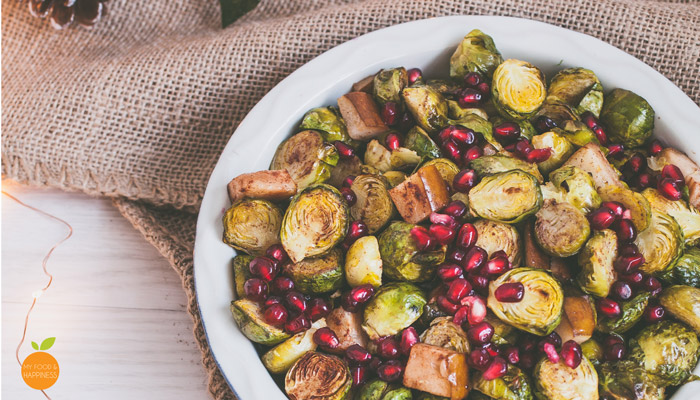 Cinnamon roasted Brussels sprouts with Pomegranate