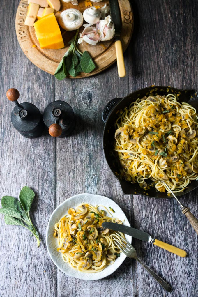 Healthy Vegan Mains - Mushroom and Butternut Squash pasta