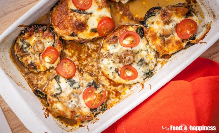 Pesto, mozzarella and tomato pesto portobello mushrooms
