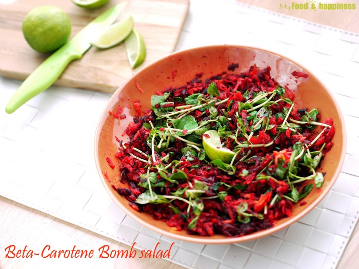 Carrot, beetroot salad recipe. Beta-carotene salad bomb