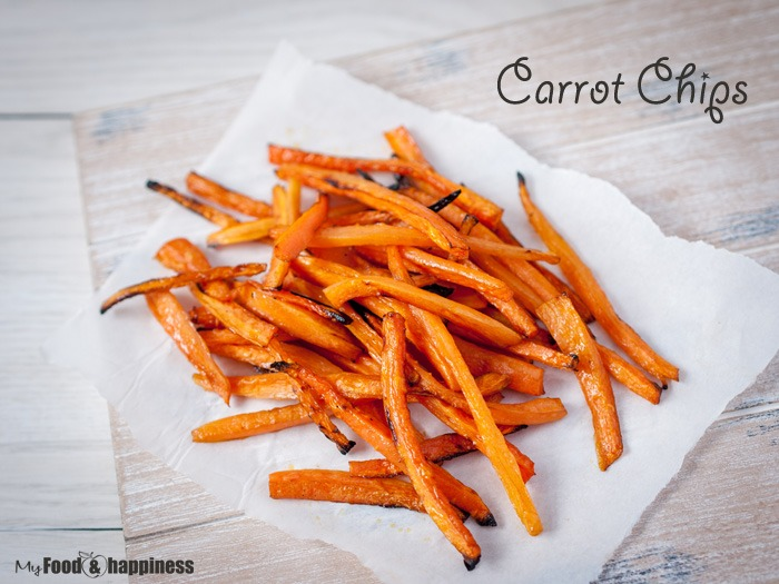 Delicious oven-baked carrot chips. Vegan snack