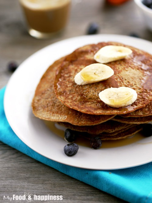 Healthy dairy free, wholemeal banana pancakes recipe