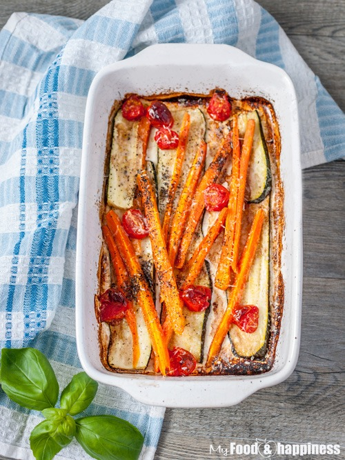 Easy Oven-baked Balsamic vegetables with Parmesan