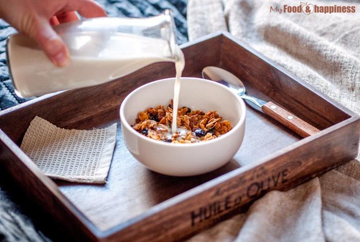 Almond milk and granola breakfast.