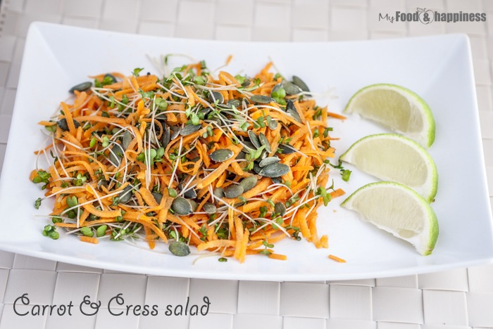 Simple, four ingredient nutritious salad with carrot, cress and pumpkin seeds