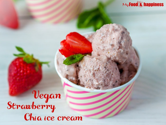 Healthy clean vegan dairy free strawberry chia ice cream