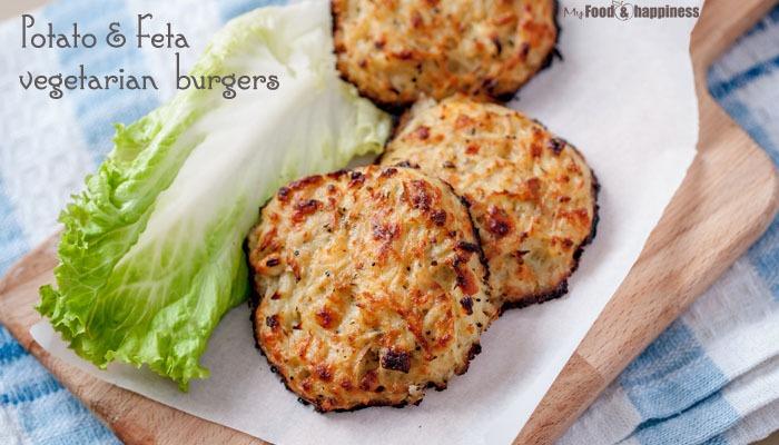 Potato & Feta oven-baked vegetarian burgers