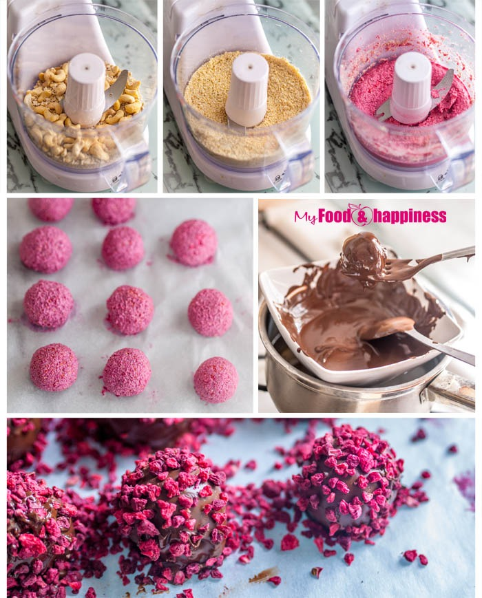Easy Valentine's day recipe - No Bake Raspberry Chocolate Truffles