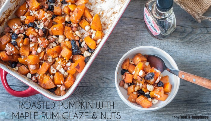Roasted pumpkin with Maple Rum glaze and nuts - healthy, easy, vegan fall dessert