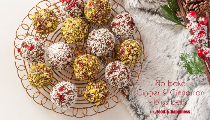 Easy vegan, healthy Christmas treat - No Bake Ginger & cinnamon bliss balls