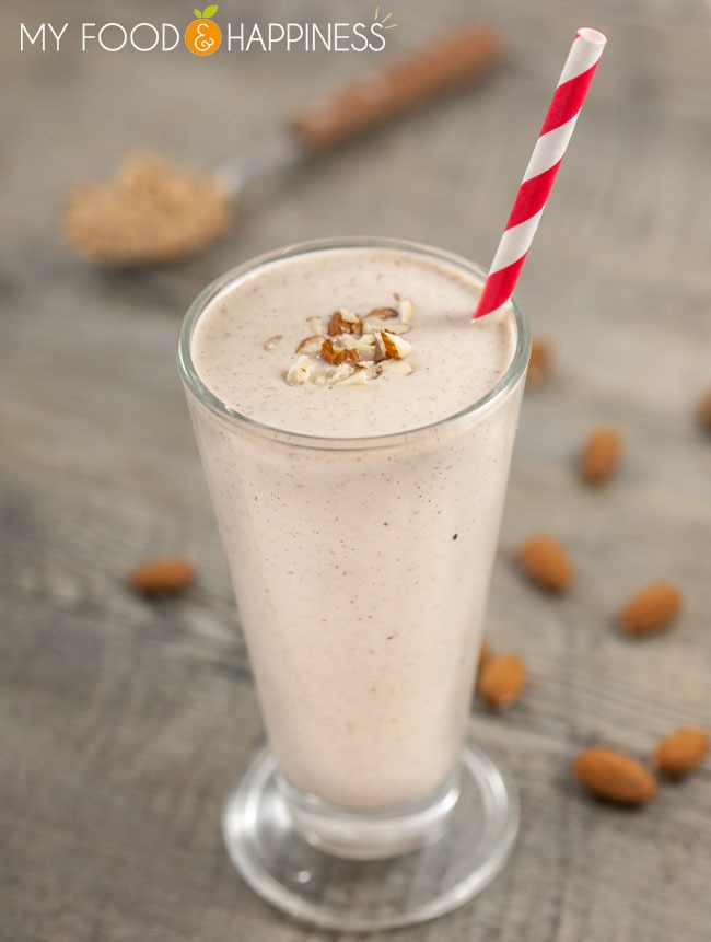 Super energising vegan protein smoothie made with peanut butter, almonds and coconut milk, Nutritious smoothie that is the perfect post-workout drink!