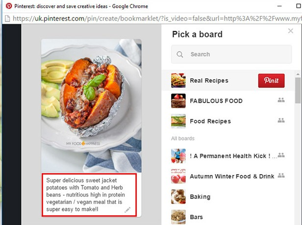"Using the ""alt"" and ""description"" tags of an image on your website to create pins that appear in search results."