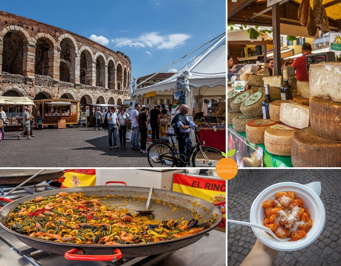 Italy in a week: Arena di Verona at Piazza Bra and Food market, Le piazze dei sapori