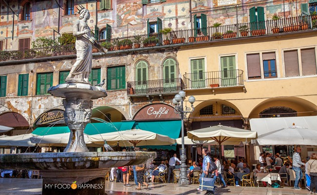 Italy in a week: Verona, Piazza delle Erbe. Road trip in Italy visiting part 1 - Verona and Venice.