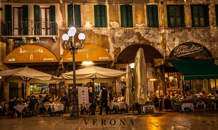 Italy in a week: Verona, Piazza delle Erbe at night. Road trip in Italy visiting part 1 - Verona and Venice.