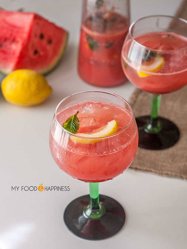 Low-sugar Mint & Apple Watermelon cocktail with rum. Healthier homemade cocktail that is a super refreshing drink, the perfect summer drink! Recipe post includes a video as well.