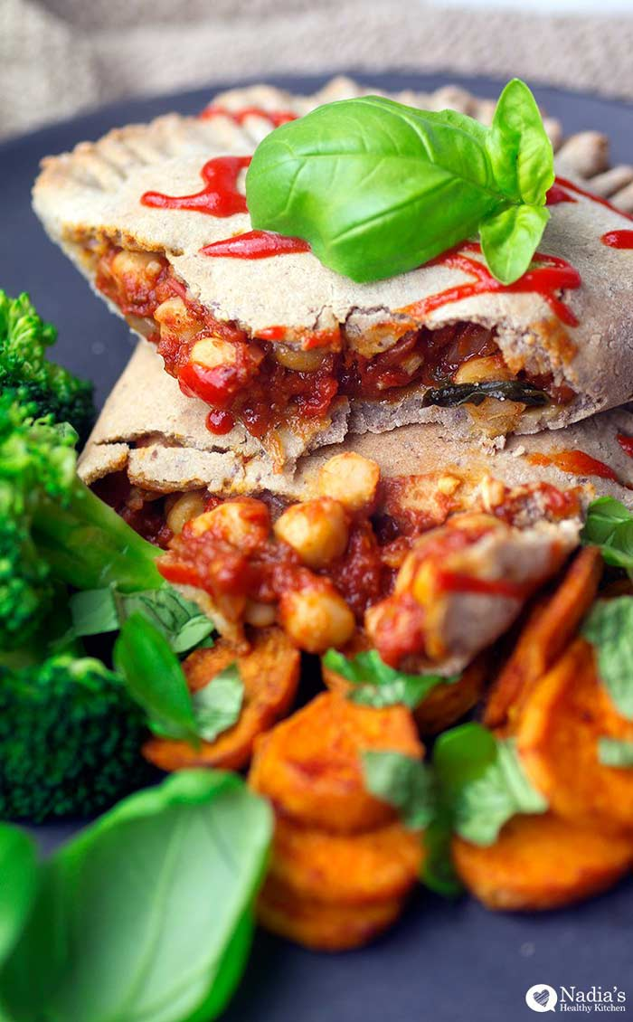 10 Veggie Mains bursting with fall flavours: Gluten-free vegan chickpea calzone by Nadia's Healthy Recipes.