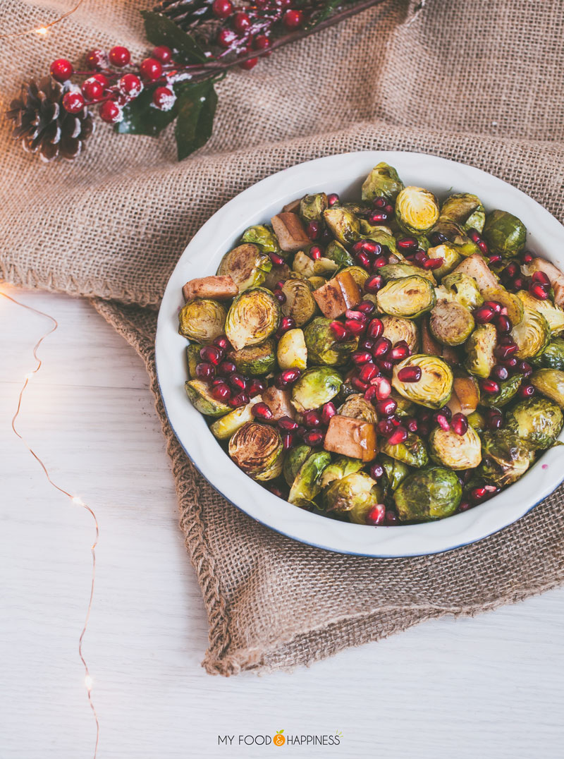 Spice up the traditional Christmas side, make these unconventional Cinnamon roasted brussels sprouts with Pomegranate! Delicious Brussel sprouts, caramelised in honey and accompanied by warm pear and fresh pomegranate.