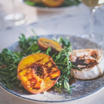 Grilled Peach Salad with Warm Goat's cheese