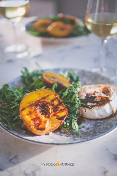 Celebrate summer with this delicious Grilled Peach salad with warm goat's cheese, rocket and honey-balsamic glaze