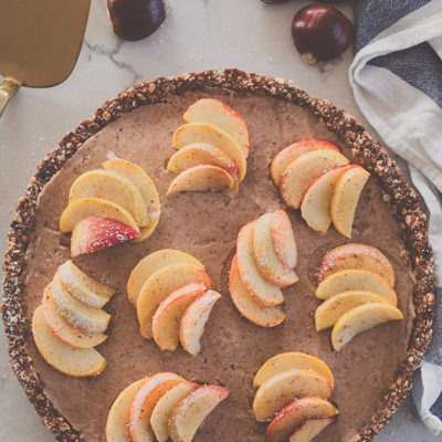 Vegan Chestnut Cream Tart with Cinnamon apples